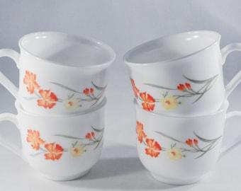 Vintage Arcopal France Mugs-Wildflowers-Floral Mugs-French Milk Glass-Coffee-Tea-Retro-Farmhouse