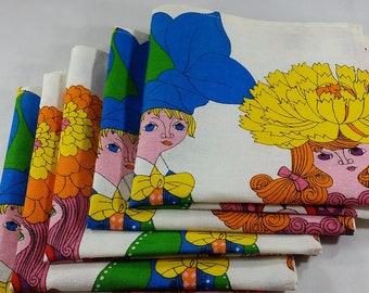 Vintage 1970's Square Cotton Dinner Napkins-Bright Colored-Table Linens-Linen Napkins-Retro-Mid Century