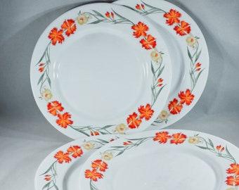 Vintage Arcopal France Wildflower White Dinner Plates-Floral-Opal Ware-Orange Yellow Green-Dinnerware-Farmhouse