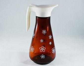 Vintage 1960's Maple Syrup Pitcher/Syrup Dispenser/Glass Syrup Pitcher/ Kitchen Storage/Flower Design/Mid Century Retro Kitchen