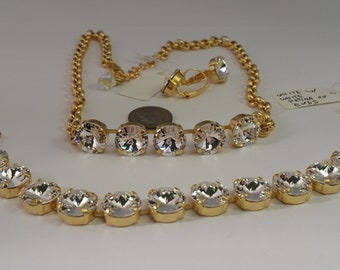Swarovski Crystal Rivoli Stones Jewelry Necklace and Earrings Set