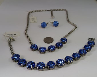 Sapphire Blue Swarovski Crystal Rivoli Stones Jewelry Necklace Bracelet and Earrings Set