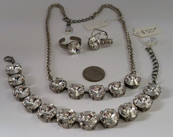 White Swarovski Crystal Rivoli Stones Jewelry Necklace and Earrings Set