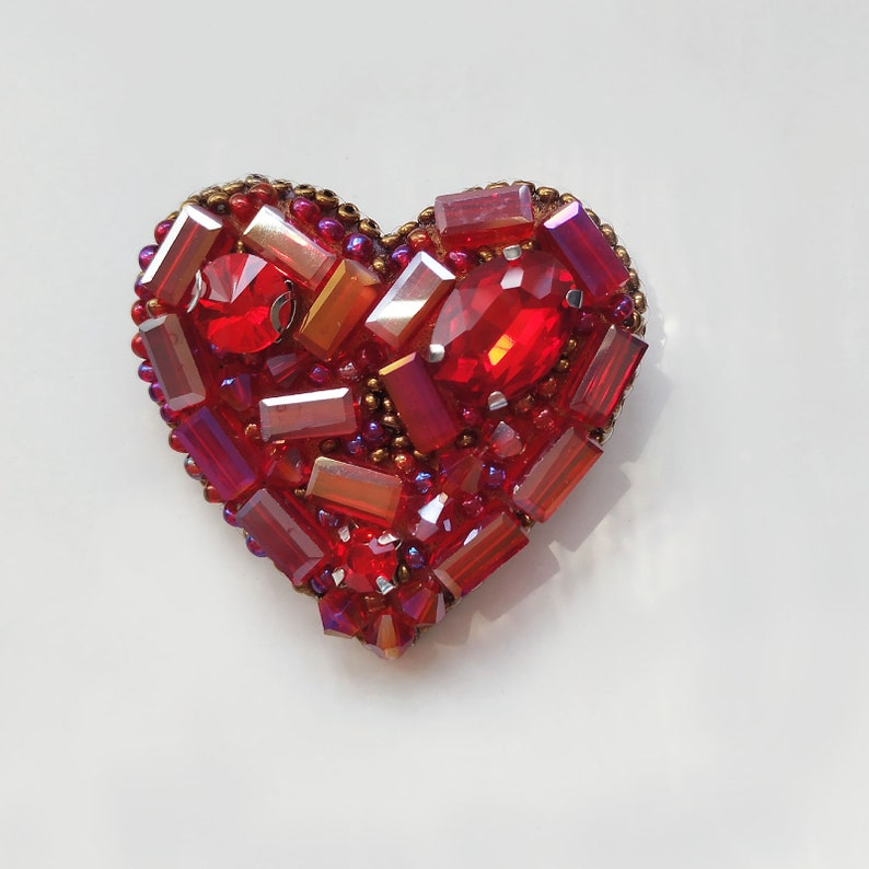 Handmade beaded brooch red purple heart gift for woman girlfriend new year present