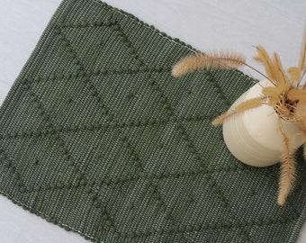 Mini handwoven green rug, bathroom mat, kitchen mat, washable rug, geometric rug, bath mat, estera de la puerta, Türmatte, paillasson.