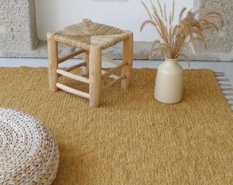 Large handwoven 200x300 cm yellow rug, area rug, living room rug, boho rug, chunky cotton rug, soft rug, kids rug, home decoration.
