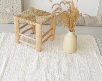 Large handwoven cream rug, bedroom rug, cotton carpet, living room rug, bohemian decor, area rug, kitchen rug, nursery rug, kids room rug.