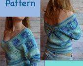 Crochet SWEATER PATTERN Granny Square pdf Tutorial ENG cold shoulder Crochet Blouse women