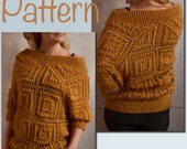 Crochet SWEATER PATTERN women Bobbles Granny square 3 4 sleeve Oversized cold shoulder Pullover Tutorial pdf ENG