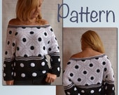 Crochet SWEATER PATTERN Polka Dot Black White granny square women Blouse cold shoulder Tutorial pdf ENG
