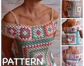 PATTERN Crochet TOP Granny square Multicolor Crochet Lace Blouse Tutorial pdf ENG