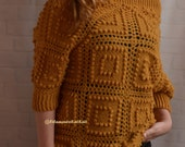 Crochet Sweater 3 4 sleeve Cold shoulder Sweater Woll Blouse Knitwear for woman