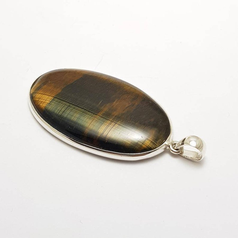 Blue Tiger Eye AAA Grade Crystal Pendant #2 Highest Form Of Sterling Silver 925 Necklace