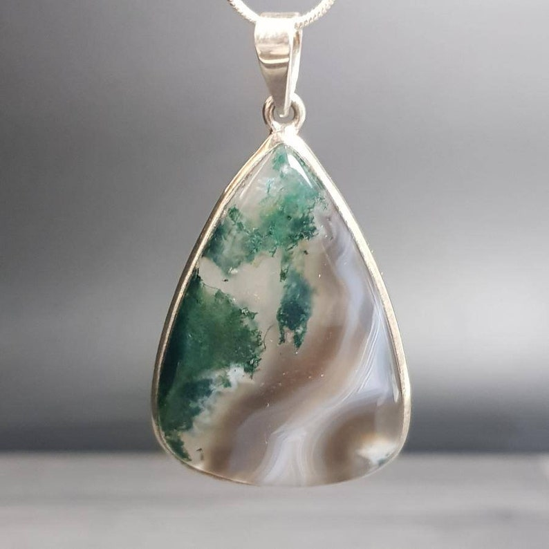 Botswana Moss Agate Rare AAA Grade Crystal Pendant #5 Highest Form Of Sterling Silver 925 Necklace