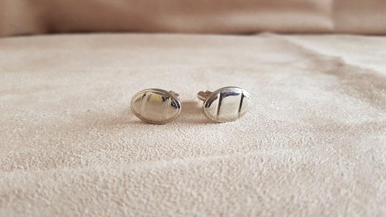 Vintage men/'s silver tone coffee bean style cufflinks
