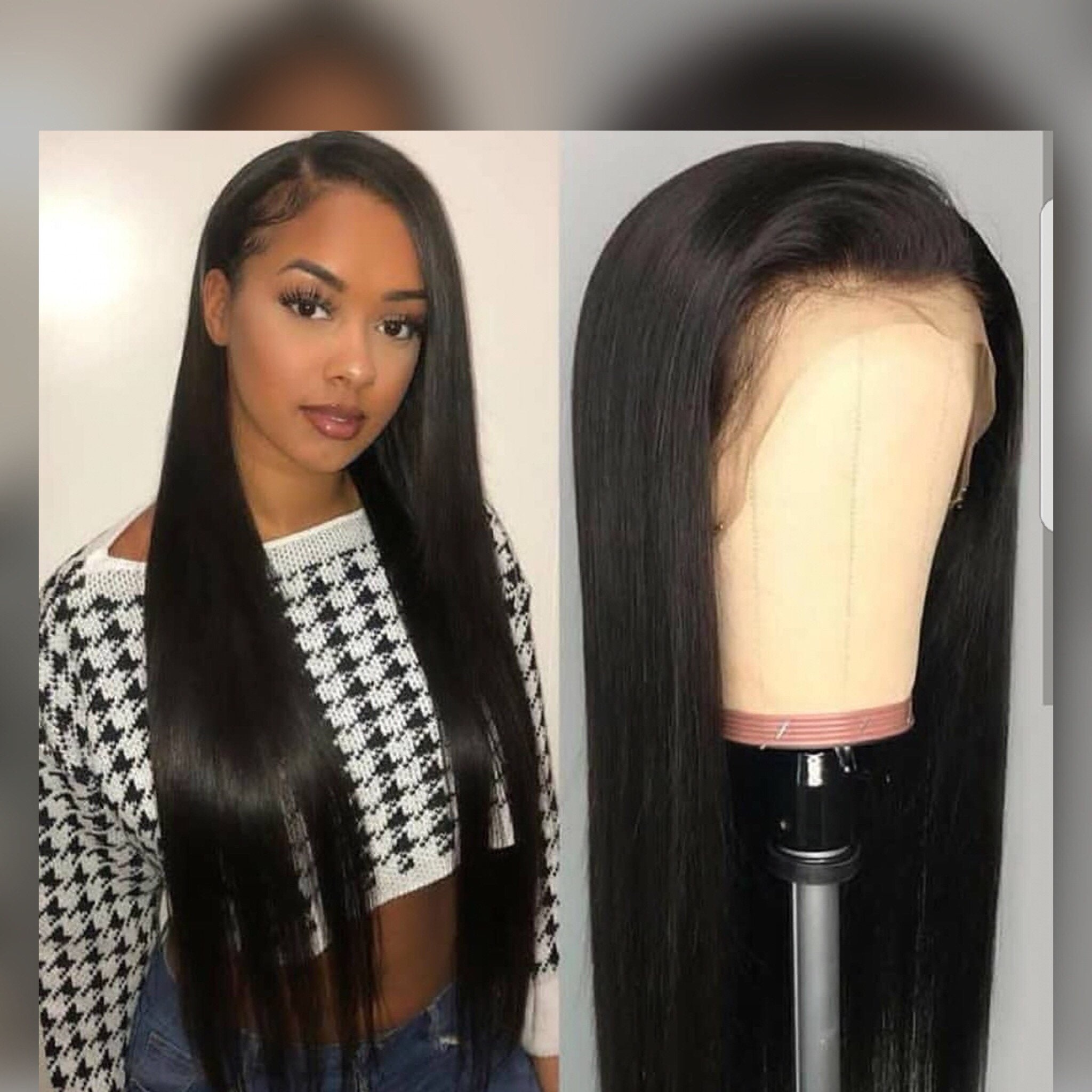 Human hair wig Straight lace front wig hair