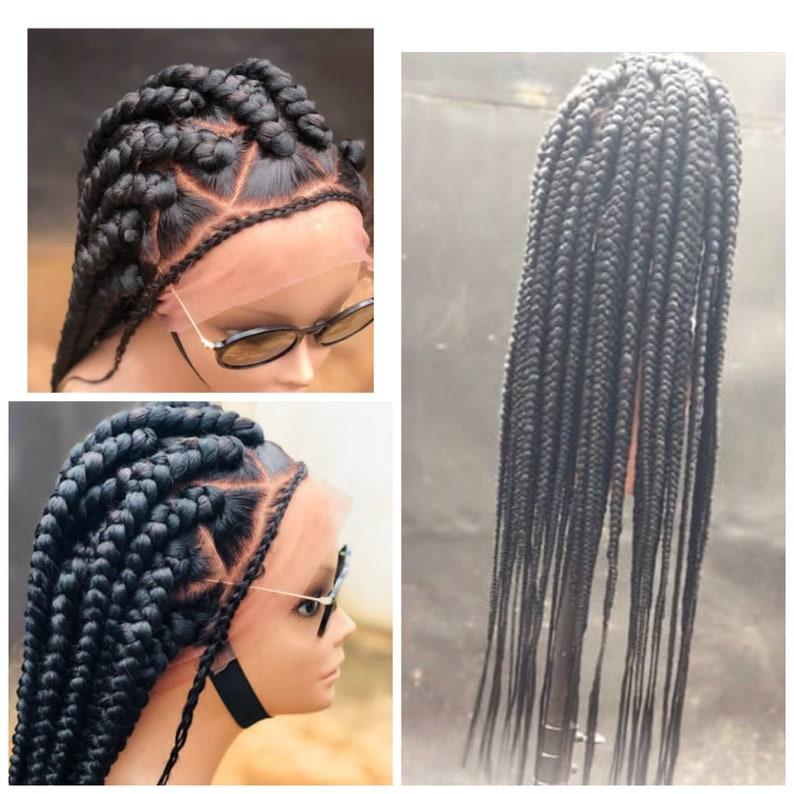 Large Box Braided Full Lace Wig Box Braids Wig Braid Wig Etsy