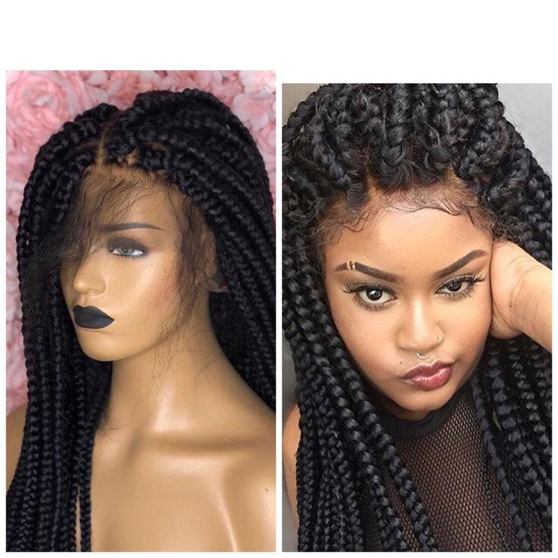 Large Box Braids Wig Cornrow Braided Wig Full Lace Wig Braids Etsy