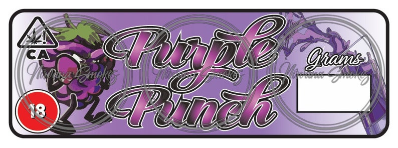 Purple Punch Strain Labels / Stickers - Cali Labels for Pop Tops & Other  Containers