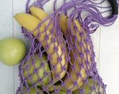 Zero waste Reusable fishnet avoska French market bag Ecofriendly string mesh bag for grocery and fruits Purple shoulder bag
