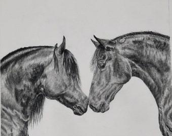 Horses, 16x16 charcoal print
