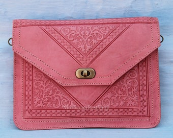 design 2 Moroccan leather purse wallet handmade pink SMALL