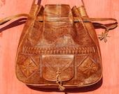Large Engraved Handmade Moroccan Leather Bag, Natural Dark Color, Boho Bags, Women 39 s Leather Handbag, Large Bucket Bag, Festival Bags