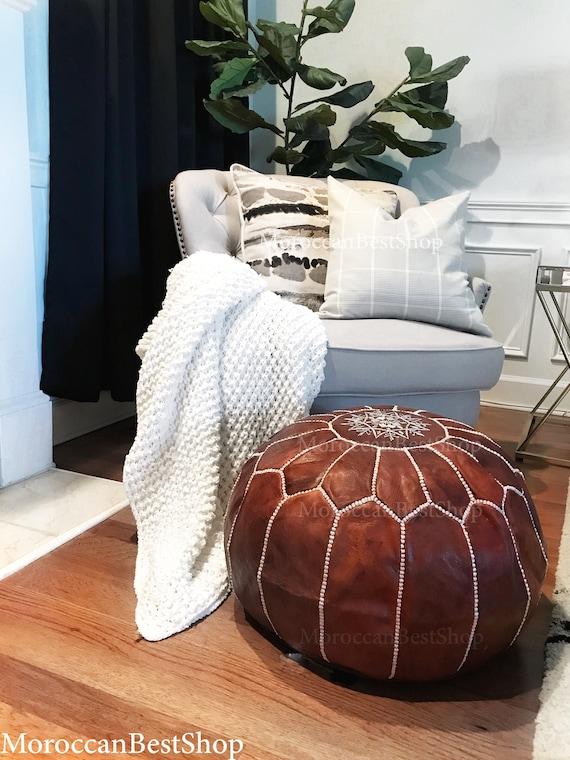 Excellent Premium Leather Poufs Handmade Ottoman Moroccan Pouf Luxury Floor Poufs Footstools Pouf Pouffe Moroccan Home Decor Theyellowbook Wood Chair Design Ideas Theyellowbookinfo