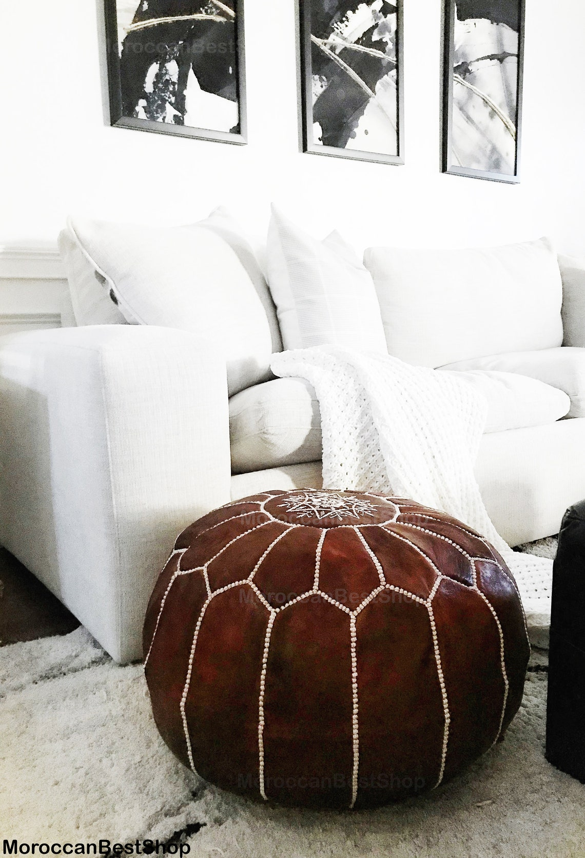 Set of 2 Pouf Ottoman , Leather Ottoman Foot Stool, Ottoman Coffee Table Footstool, Moroccan Leather Pouf Ottoman .