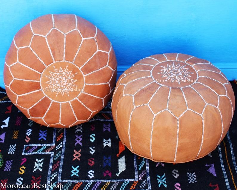 Home Decor. Boho Decor Set of 2 Moroccan Poufs,Ottoman Leather luxury floor poufs,footstools pouf Tan Floor pouf