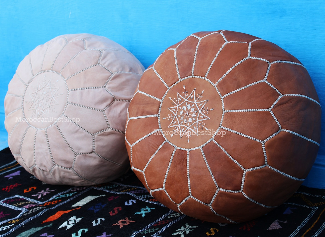 Set Of 2 Handmade Moroccan Leather Pouf , Moroccan Pouf White Tan & Natural Color , Floor Pouf Chair , Pouf Seating , Outdoor Pouf .