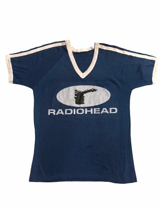 Super Cool! Vintage 90's Radiohead V Neck 3 Stripe