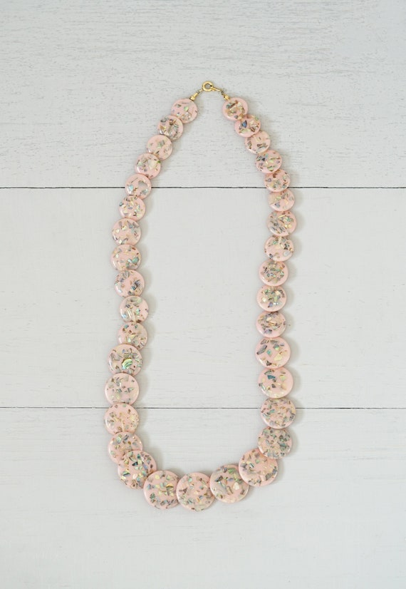 Vintage Pink Coin and Abalone Fleck Terrazzo Neckl