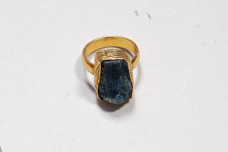Designer Bezel Set Ring Natural Blue Kyanite Stone Ring Handmade Ring Stackable Ring Designer Brass Ring Gold Plated Fashion Ring