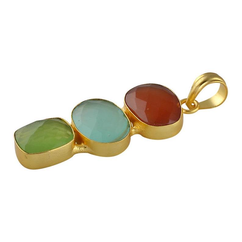 Three Stone Pendant Women Birthday Gift Bezel Set Pendant Red Onyx Pendant Women Pendant Brass Pendant Gold Plated Pendant
