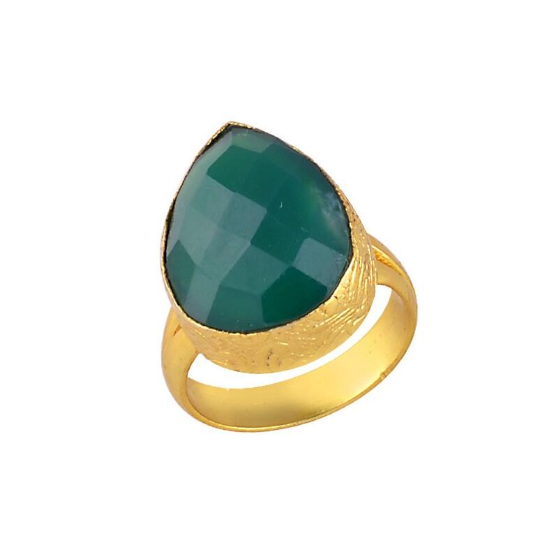 Designer Ring Women Birthday Ring Red Onyx Ring Statement Ring Gemstone Ring Women Ring Green Onyx Ring 18K Gold Plated Ring