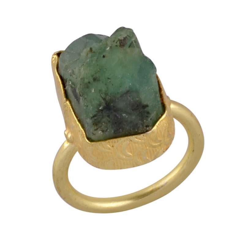One of a Kind Ring Daily Wear Ring Glod Vermeil Ring Green Stone Ring Gift For Her Bezel Set Ring Birthstone Ring Rough Emerald Ring
