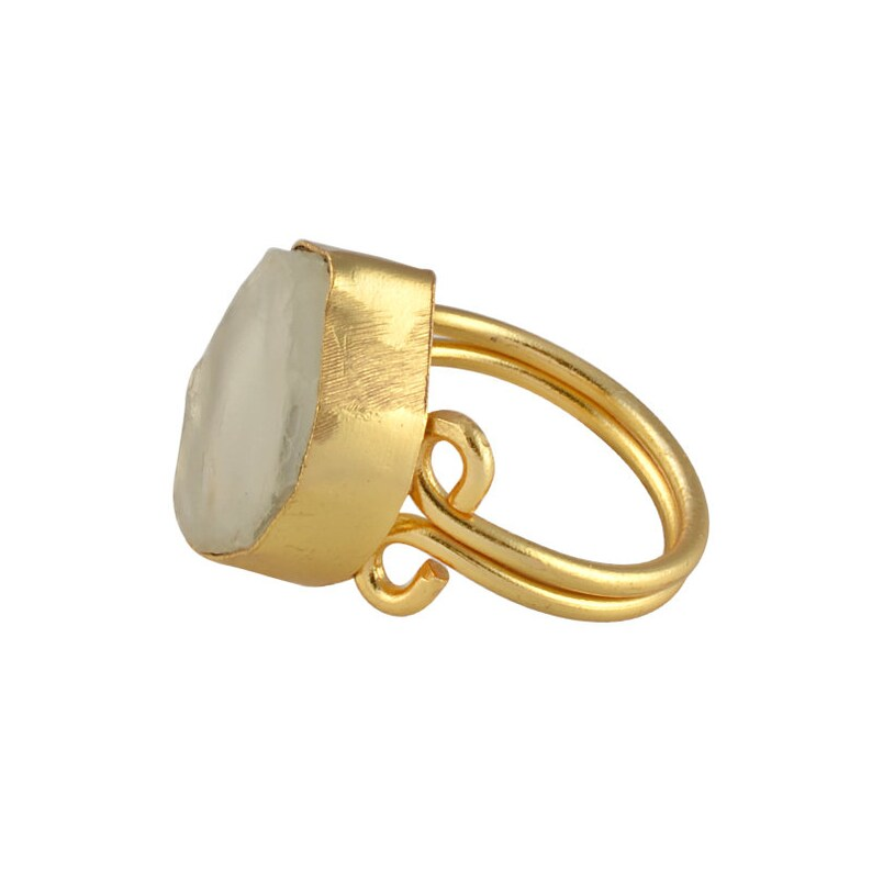 Simple Classic Ring Bezel Set Ring Gold Plated Ring Everyday Wear Ring Best Friend Gift Crystal Quartz Ring Handmade Brass Ring