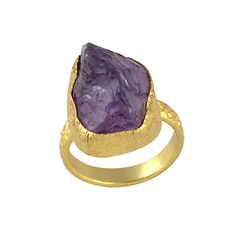 Cabochon Stone Ring 18K Gold Plated Ring Brass Designer Ring Purple Amethyst Ring Natural Stone Ring Beautiful Ring Brass Ring