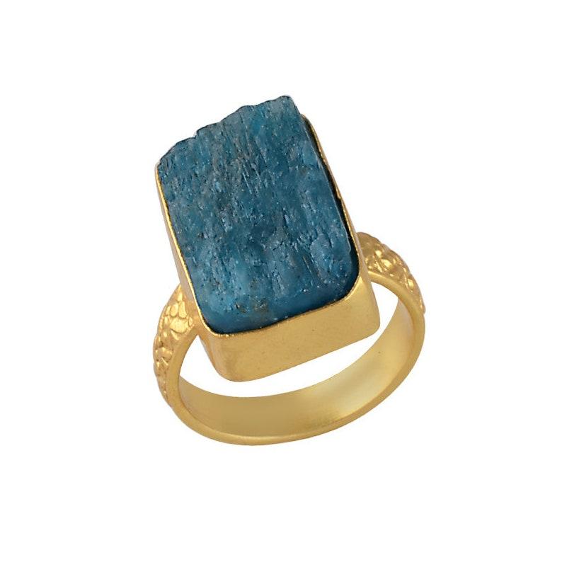 Women Fashion Ring Brass Ring Beautiful Ring Gold Vermeil Ring Handmade Ring Designer Ring Blue Apatite Ring Mid Fingr Ring