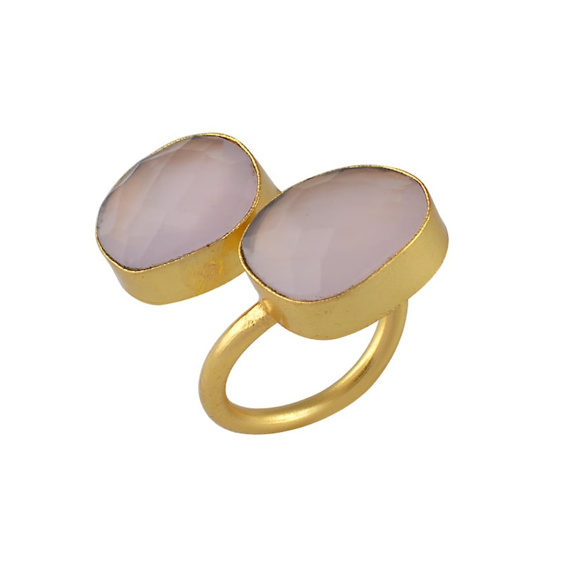 Rough Gemstone Ring 18K Gold Plated Ring Two stone ring Adjustable Ring Rose Quartz Ring Handmade Ring Women Stacking Ring