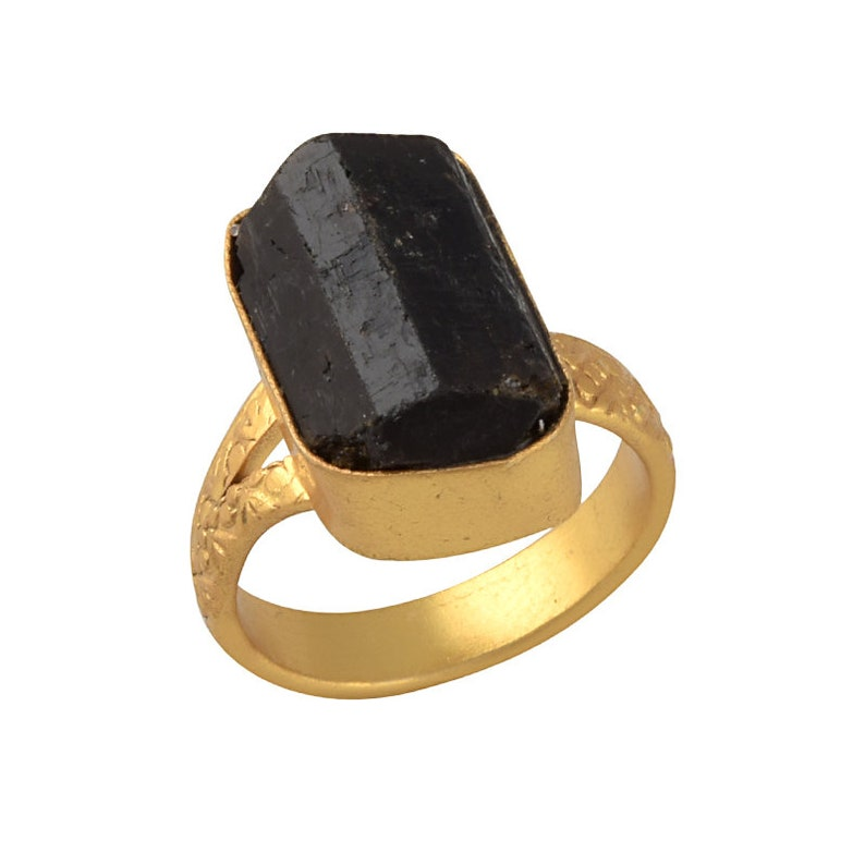 Everyday Wear Ring Black Tourmaline Ring Beautful Ring 18K Gold Plated Ring Retirement Gift Idea Natural Tourmaline Stone Ring