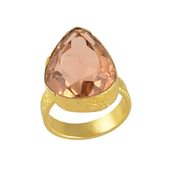Real Stone Ring Unique Gift For Her Brass Ring For Prong Set Ring Raw Garnet Ring Jewelry Gift For Mom Gold Vermeil Ring