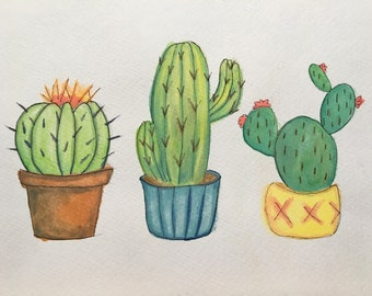Original A4 Cacti Trio Watercolour Painting with Fineliner