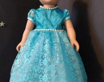 Heavenly blue lace gown fits 18 in an American Girl dolls