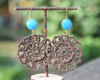 Adriana Hernandez Crochet earrings with faceted turquoise bezel - 14K gold earwire. Handmade with 100% cotton. BROWN. Long Dangle Earrings