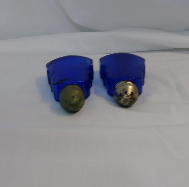 Twp Vintage Glass Cobalt Blue Guitars Salt and Pepper Shakers with metal tops