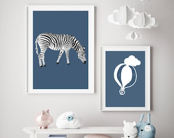 Set of 2, Contrast Zebra and Balloon Blue