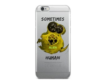 Sometimes Alien Human iPhone Case Funny Paint Bubble Eyes Tail Green Creature Space Silly Weird Nerd Big Hearts