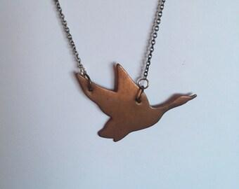 Bird in flight pendant necklace